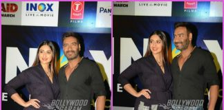 Ajay Devgn and Ileana D'Cruz promote Raid at a theatre in Delhi