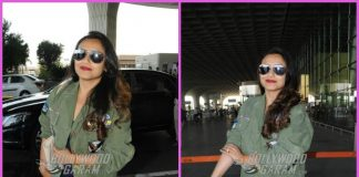 Rani Mukerji smiles and poses for paparazzi at airport