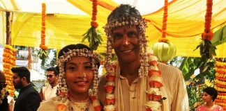 Milind Soman and Ankita Konwar  get married in a traditional ceremony