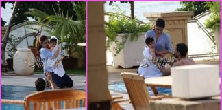 Inaaya Naumi Kemmu and Taimur Ali Khan enjoy pool time with family