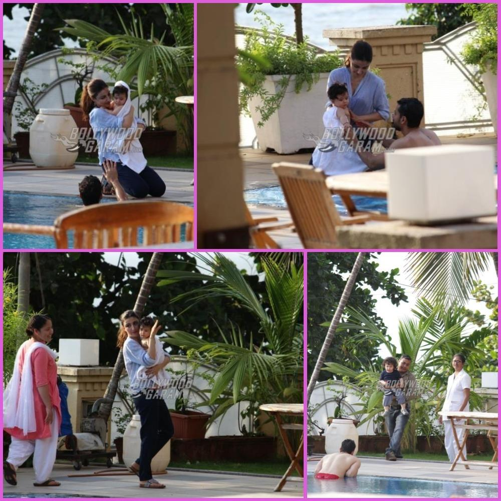 Inaaya Naumi Kemmu and Taimur Ali Khan enjoy pool time with family