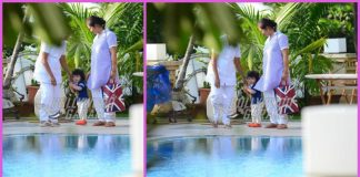 Taimur Ali Khan loves to play by at pool side