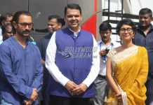 Aamir Khan and Kiran Rao meet Chief Minister Devendra Fadnavis at a studio