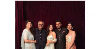 Boney Kapoor poses for a family portrait with children