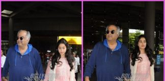 Boney Kapoor and Janhvi Kapoor return post receiving Sridevi's National Award in Delhi