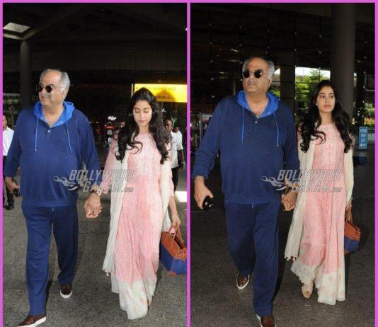 Boney Kapoor and Janhvi Kapoor return post receiving Sridevi's National Award in Delhi