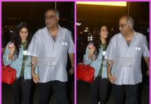 Boney Kapoor receives daughter Janhvi Kapoor at airport