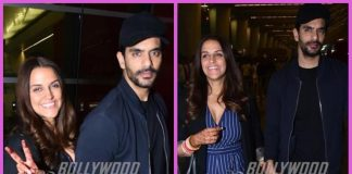 Neha Dhupia and Angad Bedi walk hand in hand at airport as they leave for the USA
