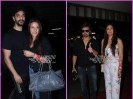 Newly-weds Neha Dhupia, Angad Bedi and Himesh Reshamia, Sonia Kapur smile and pose for cameras at airport