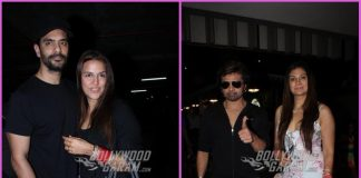 Newly-weds Neha Dhupia, Angad Bedi and Himesh Reshamia, Sonia Kapur smile and pose for cameras at airport