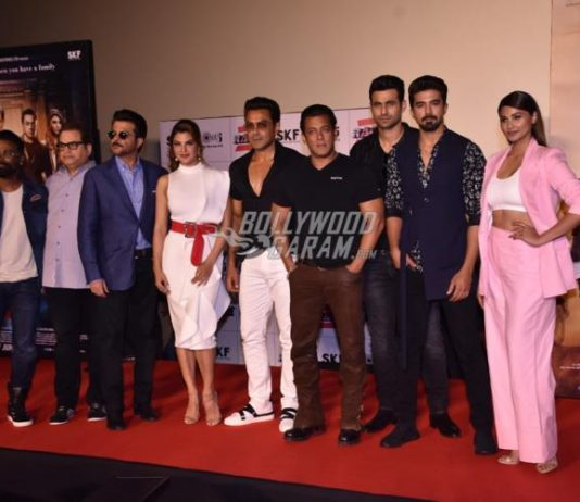 Cast and crew of Race 3 launch official trailer at an event