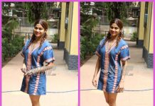 Shamita Shetty poses for cameras at shoot location