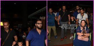Ajay Devgn makes a style splash at airport with son Yug and mother Veena Devgn