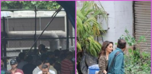 Madhuri Dixit Anil Kapoor and Ajay Devgn shoot for Total Dhamaal