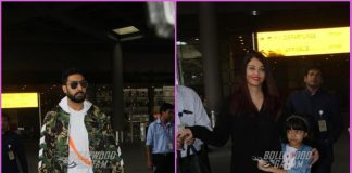 Aishwarya Rai Bachchan and Abhishek Bachchan with daughter Aaradhya at airport