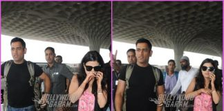 Mahendra Singh Dhoni and wife Sakshi  make their way to Indore