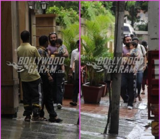 Saif Ali Khan and son Taimur Khan on a casual stroll together