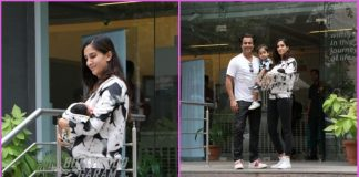 Abhishek Kapoor and Pragya Yadav pose with newborn son