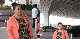 Injured Bharti Singh smiles and poses for paparazzi at airport