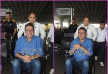 Injured Boman Irani on wheelchair at airport