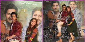 Varun Dhawan and Anushka Sharma promote Sui Dhaaga – Made In India on a bicycle