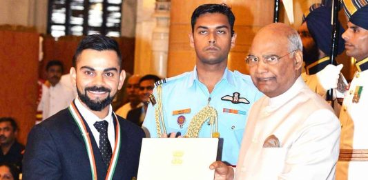 Virat Kohli awarded with Khel Ratna by President Ram Nath Kovind