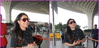 Rani Mukerji all smiles at airport in Mumbai