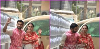 Ranveer Singh and Deepika Padukone greet paparazzi at Bhavnani's residence