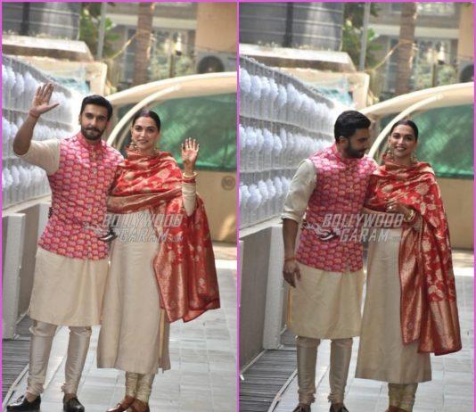 Ranveer Singh and Deepika Padukone greet paparazzi at Bhavnani's residence