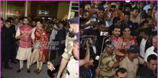 Ranveer Singh and Deepika Padukone greeted by fans and media as they return to Mumbai