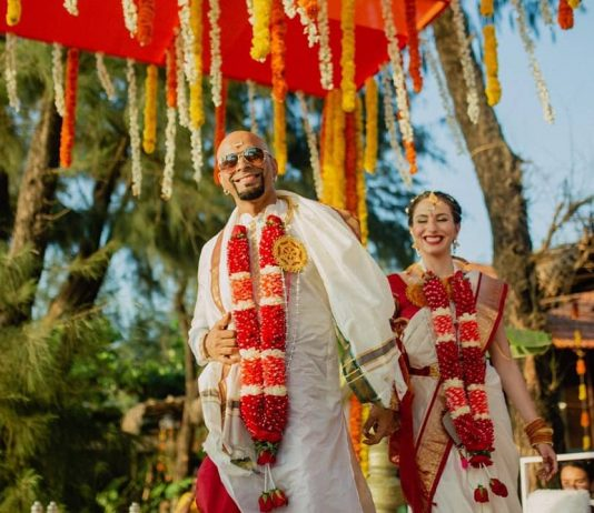Raghu Ram and Natalie Di Luccio get married in a traditional ceremony in Goa