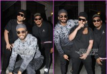 Ranveer Singh poses with rappers Divine and Naezy at recording studio