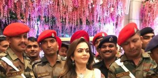 Mukesh Ambani and Nita Ambani celebrate Akash and Shloka's wedding with armed forces