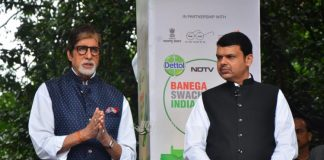 Amitabh Bachchan with chief minister participate at Maha Cleanathon event