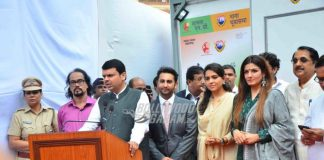 Raveena Tandon and Shaina NC at modern toilet facility inauguration